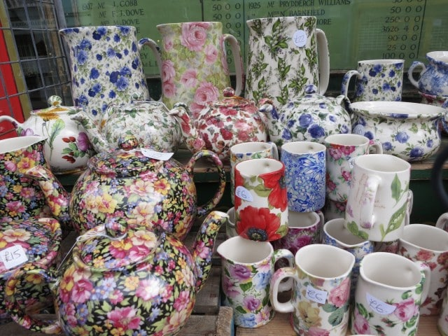Colorful Tea Pots on Portobello Road in London England