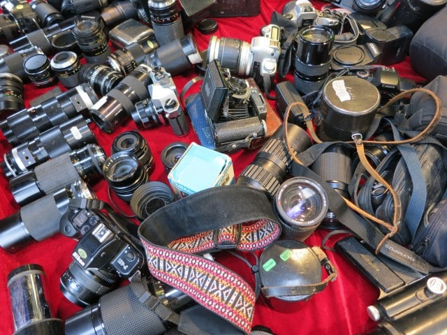 Vintage Cameras on Portobello Road in London England