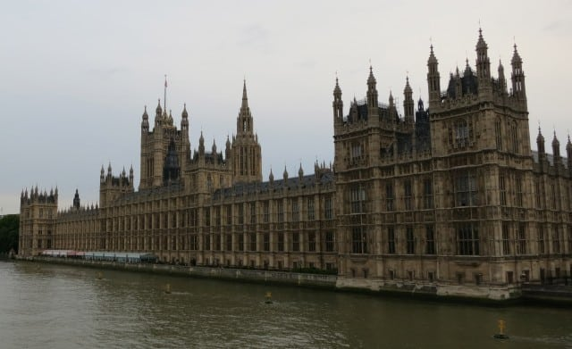 Parliament on the Thames in London England