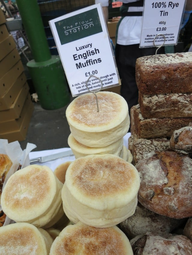 English Muffins at Borough Market in London England