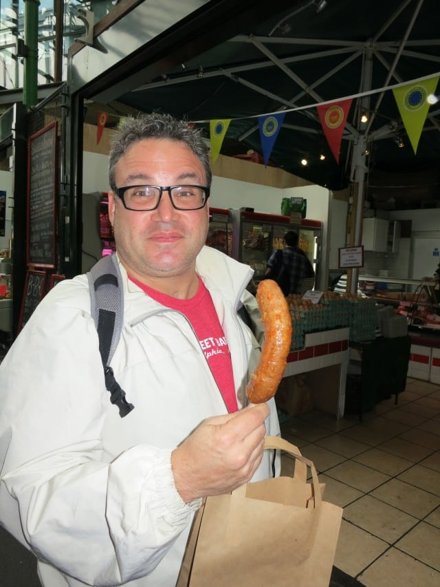 Daryl Enjoys Meat on a Stick at Borough Market in London England