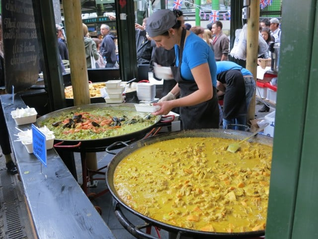 Curry Vats at Borough Market in London England