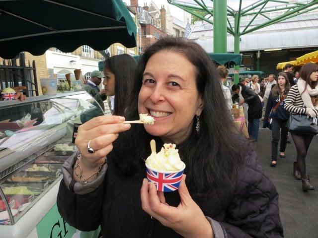 Mindi Enjoying Greedy Goat Ice Cream. A Taste of London. Borough Market in 44 Hours