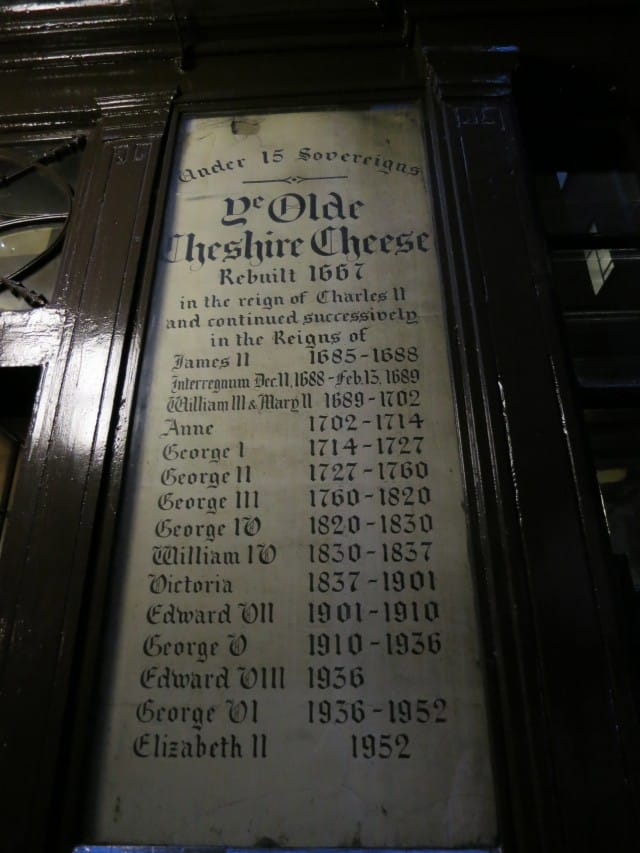 Ye Olde Cheshire Cheese Sign in London England