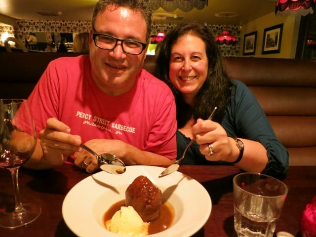 Enjoying Sticky Toffee Pudding at Mitre in London England