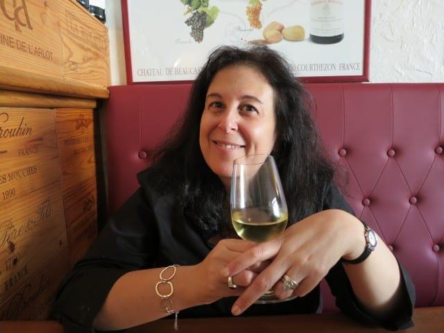 Mindi Enjoying the Wine at Ma Cuisine in Beaune Burgundy France