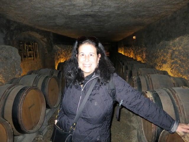 Mindi and Wine Bottles in Beaune Burgundy France