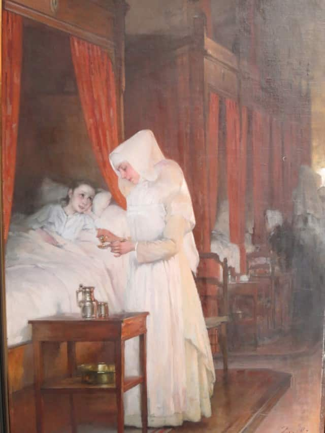 Painting of Sister Healing a Patient Beaune Burgundy France