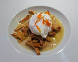 Poached Egg over Girolles at La Ruchotte in Burgundy France