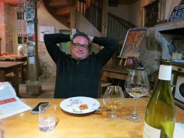 Satisfied Diner at La Ruchotte in Burgundy France