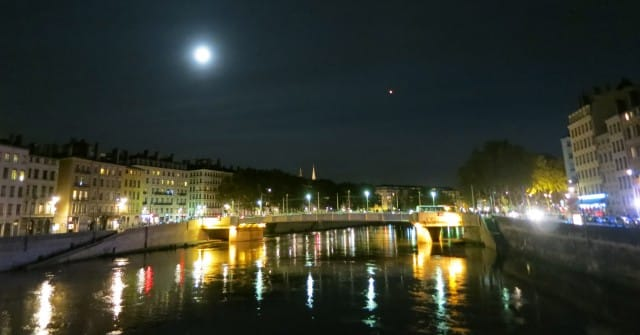 Full Moon over the Sparkling Saône Lyon France