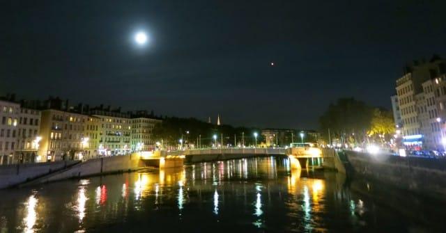 Full Moon over the Sparkling Saône Lyon France