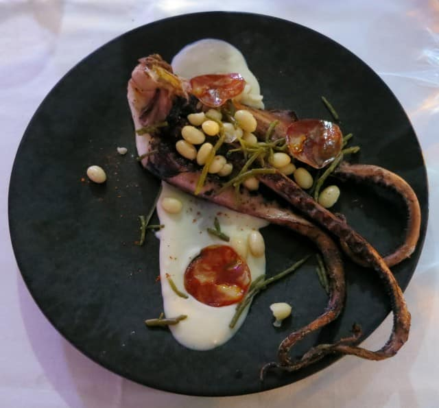 Overcooked Octopus at Le Potager des Halles in Lyon France