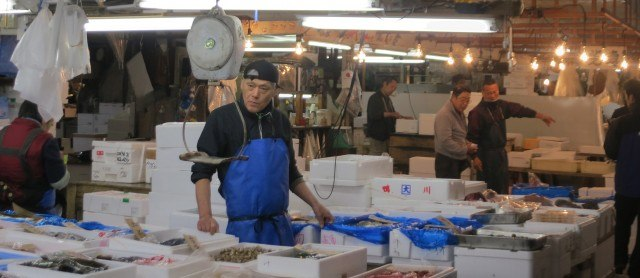 Workers at Tsukiji Market in Tokyo Japan