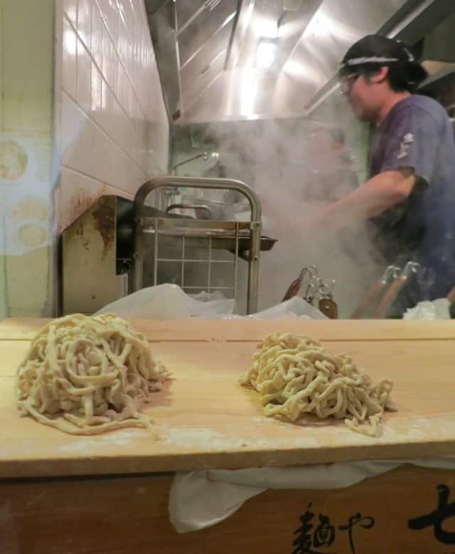 Handmade noodles wait for their bath. Ramen Street Tokyo Japan