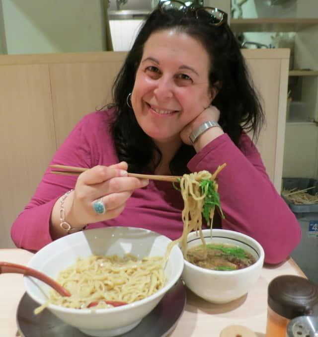 Mindi enjoys her Tsukamen on Ramen Street in Tokyo Japan
