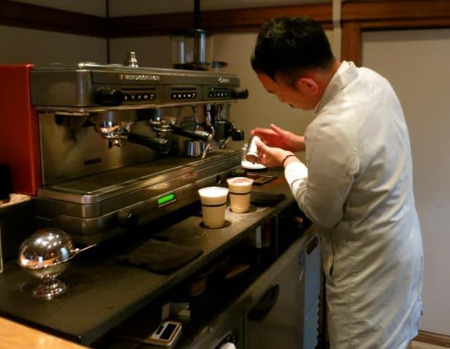 Dusting the Iced Cappuccinos atOmotesando Koffee Tokyo Japan