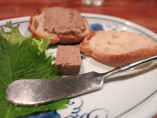 Chicken Liver Pate Plate at Bird Land in Tokyo Japan