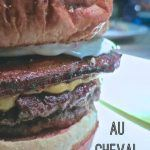 Pinterest image: image of hamburger with caption reading 'Au Cheval in Chicago'