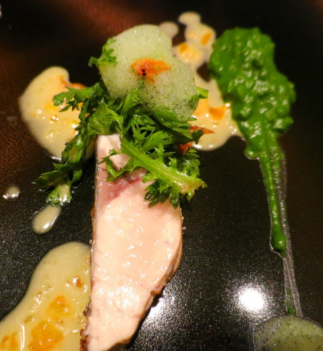 Spanish Mackerel with Kumquat and Shungiku at Florilege in Tokyo Japan