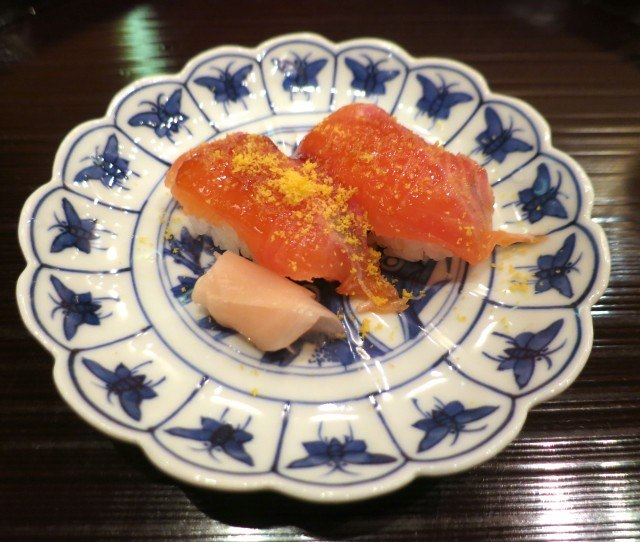Salmon Sushi with Ginger at our Kaiseki Dinner in Kyoto Japan