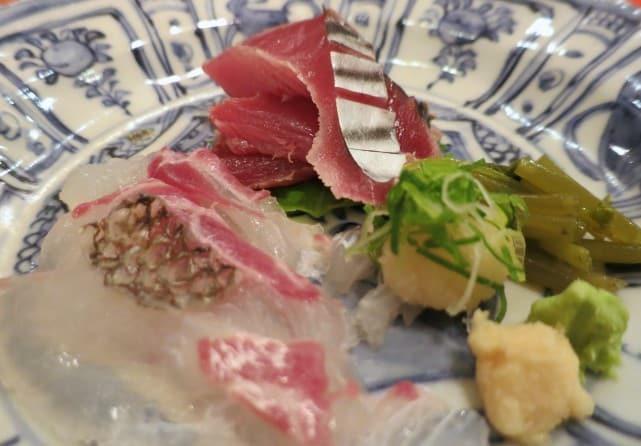 Sea Bream and Bonita Tuna Served with Pickled Vegetables, Wasabi and Horseradish Kaiseki Dinner Kyoto