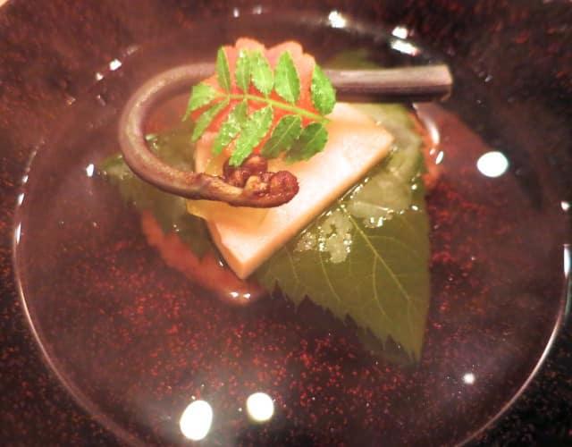 Dashi Soup with Rice Cake and Mountain Vegetable Kaiseki Dinner Kyoto