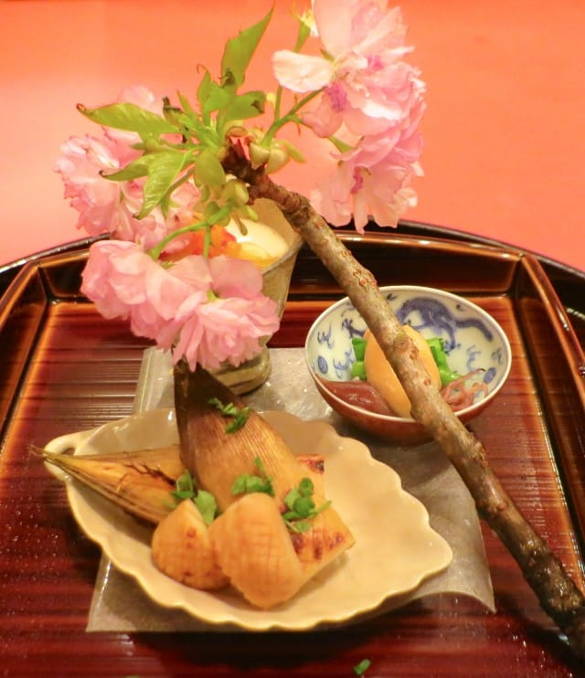 Fresh Bamboo Shoots, Yuzu and Baby Octopus with Miso and Greens, Served with a Cherry Blossom Branch Kaiseki Dinner Kyoto