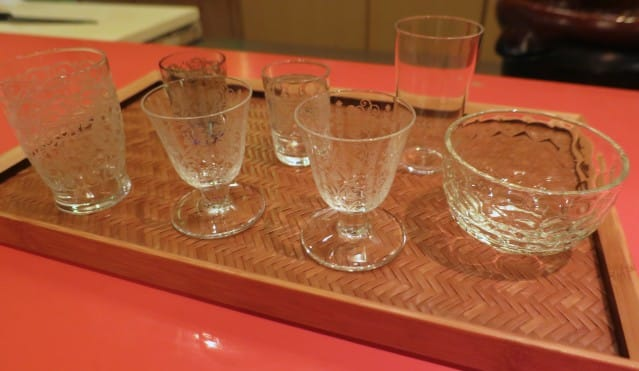 Sake Glass Selection at our Kaiseki Dinner in Kyoto Japan