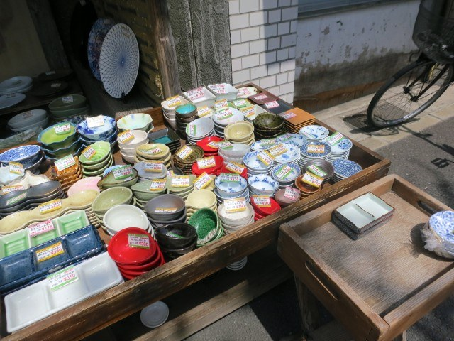 Pottery Spills into the Street Kappabashi Street Tokyo Japan