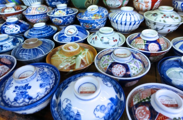 Pottery Bowls on Kappabashi Street in Tokyo Japan