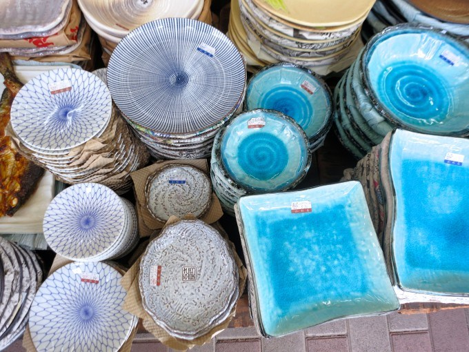 Pottery Plates on Kappabashi Street in Tokyo Japan