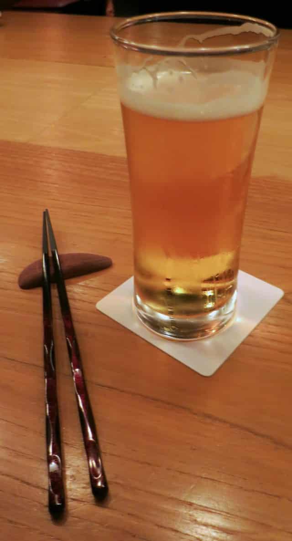 Beer and Chopsticks at Matsugen in Tokyo Japan