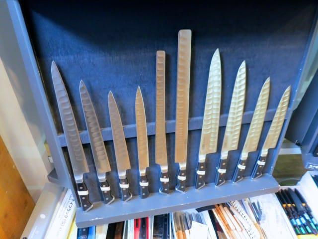 Beautiful Knives on Kappabashi Street in Tokyo Japan