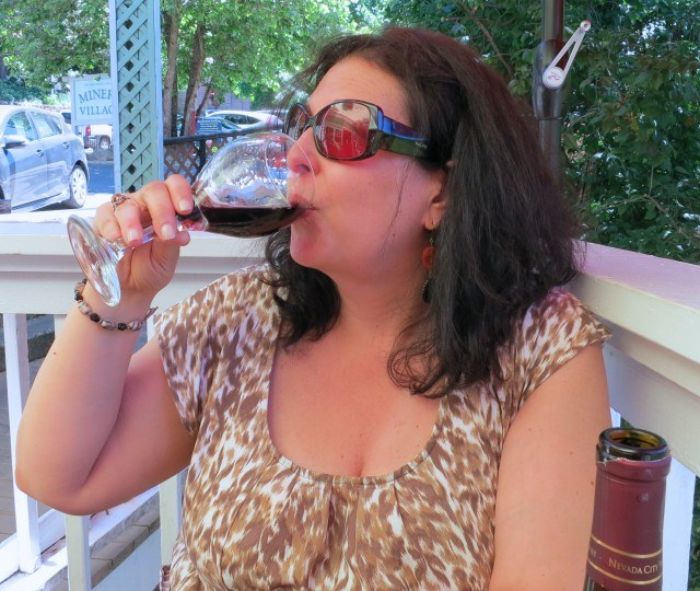 Mindi Enjoying the Nevada City Winery Malbec at Lunch Sierra Foothills