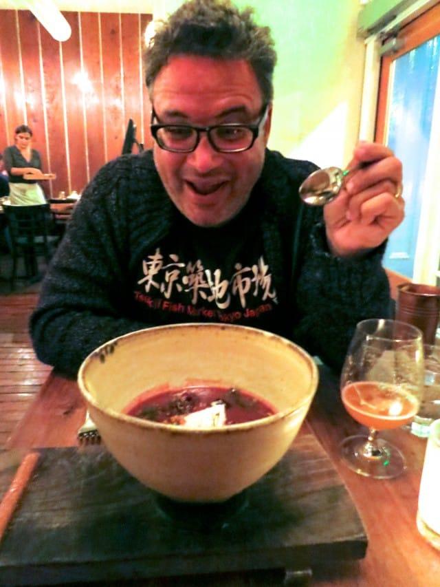 Daryl Attacking the Big Soup Bowl Bar Tartine
