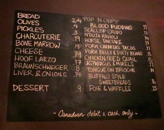 Chalkboard Menu at the Black Hoof in Toronto Canada