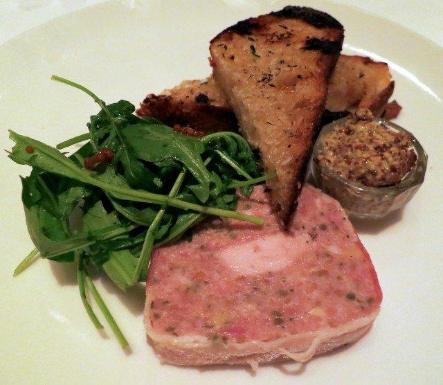 Terrine of Rabbit, Pork, Granny Smith Apples and Filbert Nuts with Arugula, Bread and Mustard Mason Pacific San Francisco