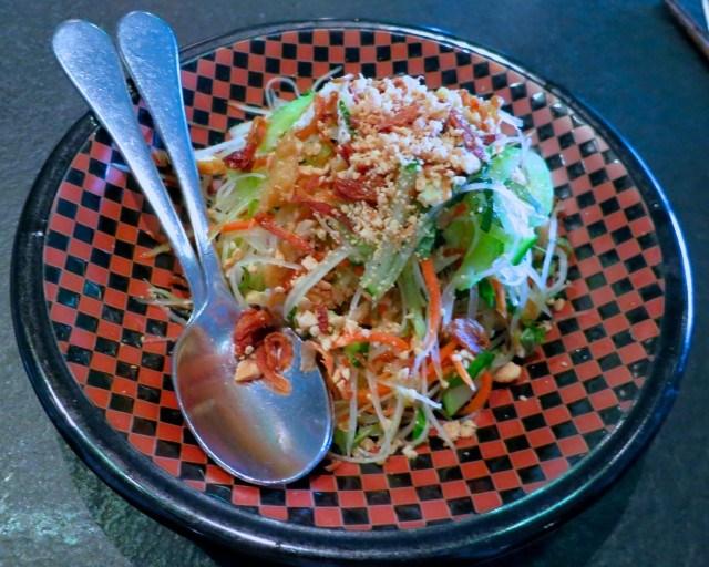 Green Papaya Salad with Pickled Carrots, Rau Ram, Crispy Shallots and Roasted Peanuts Slanted Door San Francisco