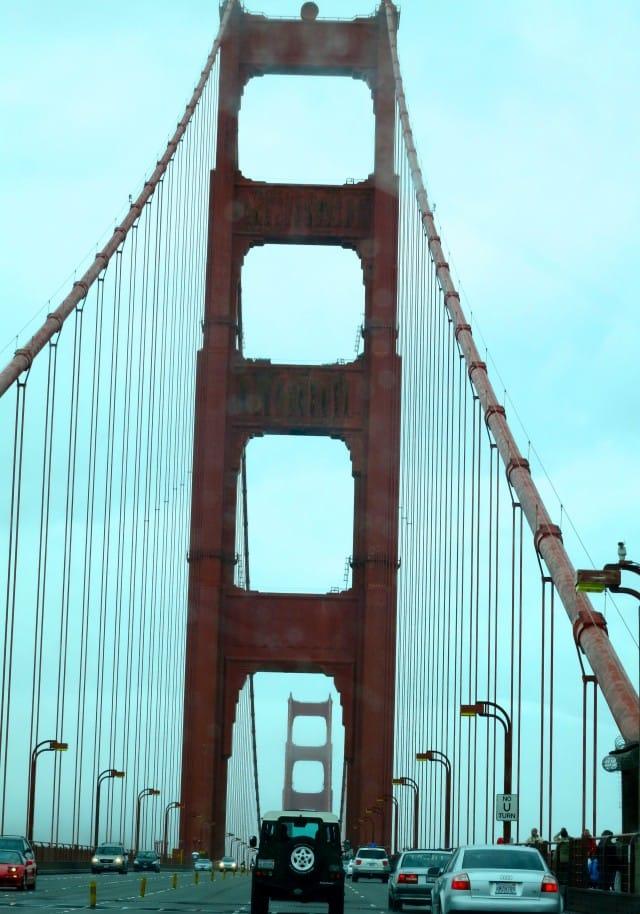 Driving over the Golden Gate Bridge San Francisco