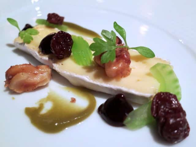 """Andante Dairy """"Legato"""" with Caper-Sultana Condiment, Dark Raisin Purée, Celery Branch and California Red Walnuts at French Laundry in Napa Valley"""