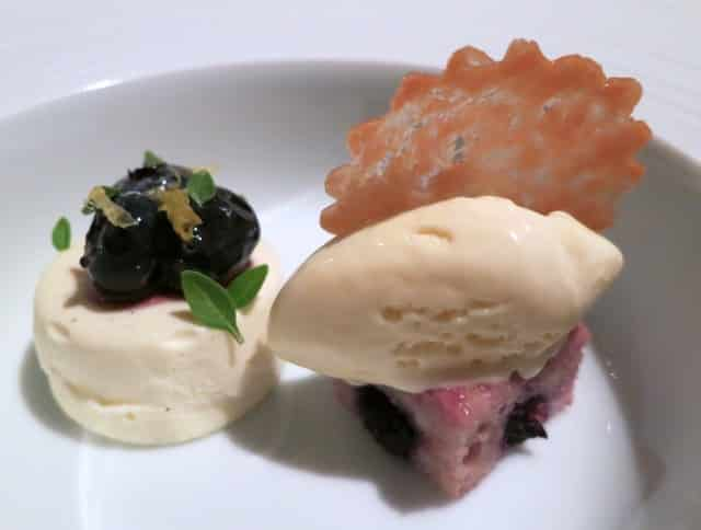 """Mindi's Dessert - Delta Blueberry Cheesecake with Compressed Blueberry Muffin, Lemon Ice Cream and Puff Pastry """"Arlette"""" at French Laundry in Napa Valley"""