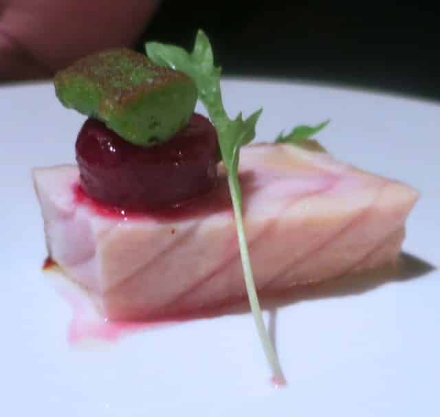 """Columbia River Sturgeon with Ruby Beets, Dill """"Gnocchi à la Parisienne"""", Mizuna and Horseradish at French Laundry in Napa Valley"""