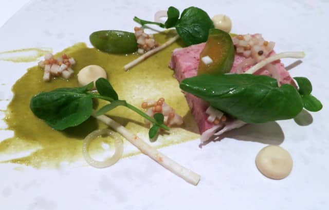 Guinee Fowl and Ham Terrine with Salted Greengage and Pickled Celeriac, Mustard Vinaigrette and Land Cress Chapter One Dublin