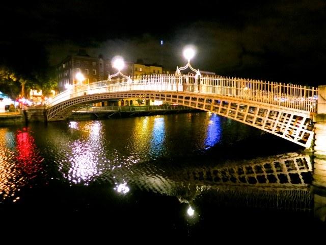 Ha'Penny Bridge over the Liffey River in Dublin Ireland