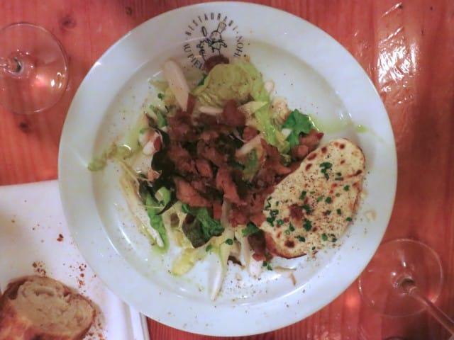 Special Salad with Crispy Lardons Au Pied de Cochon Montreal