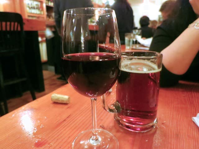 Wine and Beer Au Pied de Cochon Montreal
