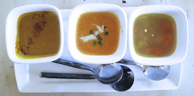 Soup Sampler with She Crab Soup, Pennsylvania Dutch Chicken Rivel Soup and Pumpkin Pear Soup