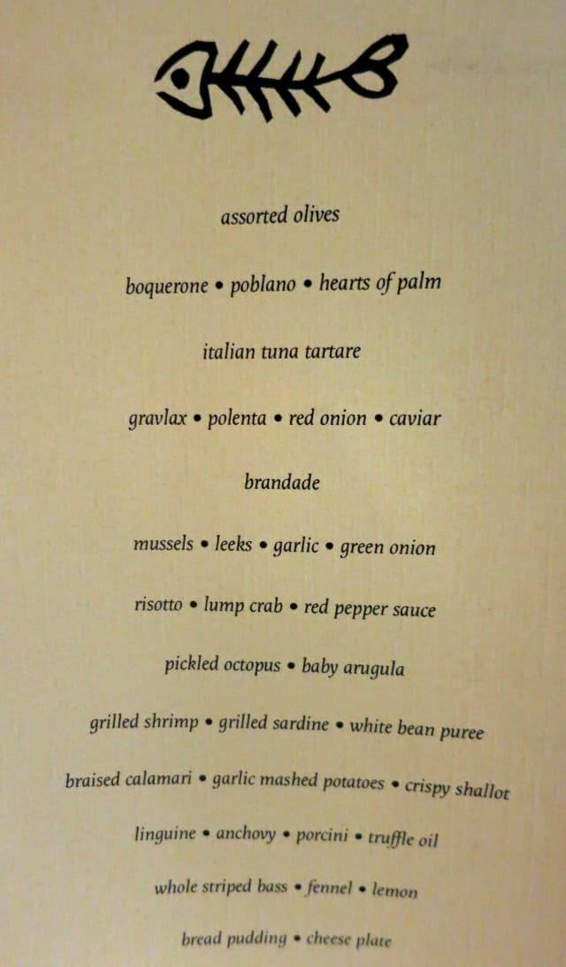 Menu Feast of the Eleven Fishes Philadelphia