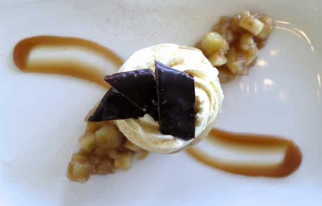 Maple Cheesecake with Local Apple Compote, Caramel Sauce and House-Made Chocolate Dipped Candied Bacon